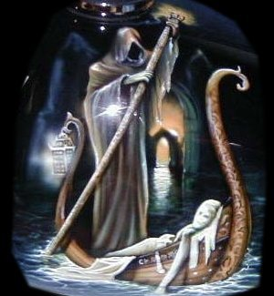 The ferryman for the human soul after death crossing the river of life
