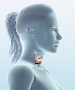 woman with thyroid gland