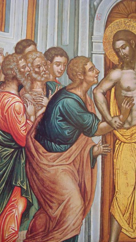 Thomas touching the solid manifestation of the Risen Etheric Christ