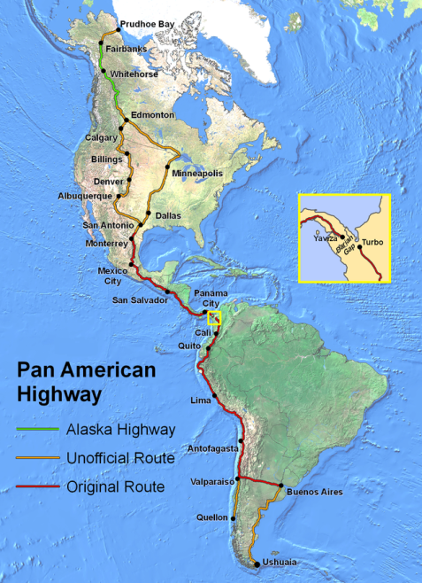 Age of America Pan American Highway along magnetic western hemisphere mountains