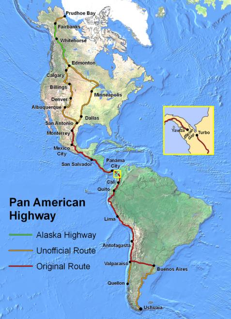 Age of America Pan American Highway along magnetic western hemisphere mountains