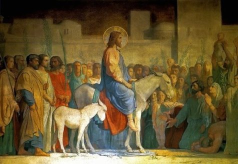 Christ on palm sunday with baby colt of ass as well